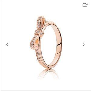 PANDORA Sparkling Bow Ring Rose Gold